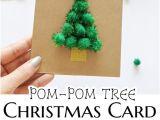 Children S Handmade Xmas Card Ideas Pom Pom Tree Christmas Card with Images Diy Christmas