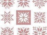 Christmas Card Cross Stitch Patterns Set Of 9 Cross Stitch Snowflakes Pattern Scandinavian Style