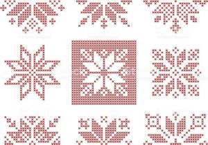 Christmas Card Cross Stitch Patterns Set Of 9 Cross Stitch Snowflakes Pattern Scandinavian Style
