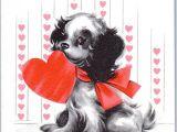 Christmas Card Ideas with Dog Sweet Puppy Dog Present Valentine Hallmark Hearts Vtg