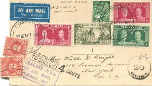 Christmas Card Postage New Zealand First Panam Airmail New Zealand to United States January 1938