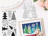 Christmas Die Cuts Card Making Yuan Cute Christmas Tree Diy Card Paper Art Cutting Dies Silicone Stamp Template