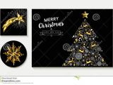 Christmas Ideas for Card Making Gold Christmas Pine Tree Card Design Template Set Stock