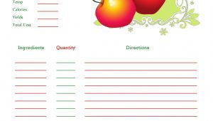 Christmas Recipe Card Template for Word Red Apples Recipe Card Full Page Recipe Cards Template