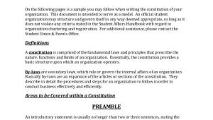 Church Constitution Template Constitution and bylaws Template Templates Resume