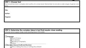Close Reading Planning Template Close Reading Template