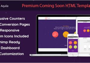 Coming soon Email Template Aquila Premium Coming soon HTML Template Mailchimp