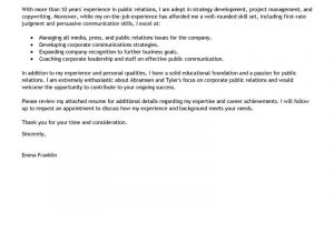 Community Relations Cover Letter Leading Professional Public Relations Cover Letter
