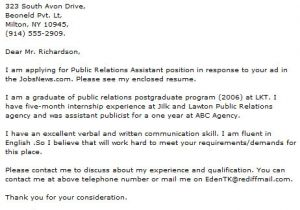Community Relations Cover Letter Public Relations Letter Cover Letter Samples Cover