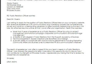 Community Relations Cover Letter Public Relations Officer Cover Letter Sample Cover