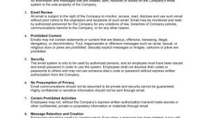 Company Email Policy Template Email Policy Strict Template Sample form Biztree Com