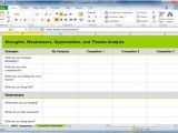 Competitor Analysis Template Xls How to Create A Swot Analysis