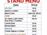 Concession Stand Flyer Template Concession Stand Menu Template Menu Template Design