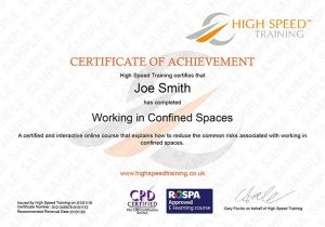 Confined Space Certificate Template Confined Space Training Course Online Training