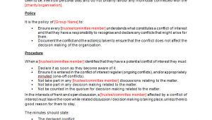 Conflict Of Interest Declaration Template Conflict Of Interest Policy Template Making Music