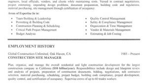 Construction Resume Templates Construction Resume Examples Project Scope Template