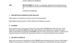 Contract for Sale Of Goods Template Contract for the Manufacture and Sale Of Goods Template