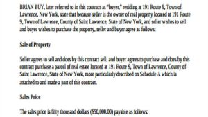 Contract for Sale Of Land Template 9 Sample Land Contract Agreements Sample Templates