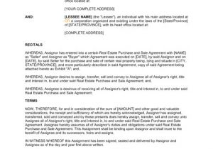 Contract for Sale Of Property Template assignment Of Real Estate Contract and Sale Agreement