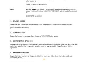 Contract for Sale Of Property Template Contract for the Sale Of Goods Template Sample form