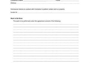 Contract for Work to Be Done Template Home Repairs Agreement Between A Homeowner and A