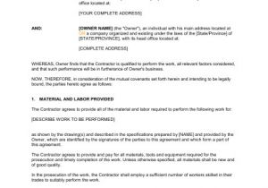 Contract for Work to Be Performed Template Agreement Between Owner and Contractor Template Word