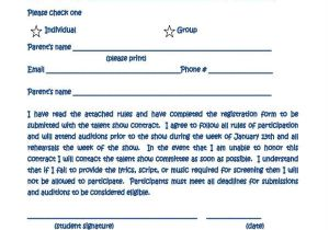 Contract Register Template 10 Talent Show Registration form Samples Free Sample