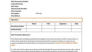 Contract Risk assessment Template Painting Risk assessment Template