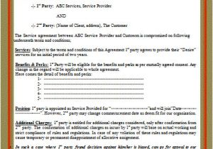 Contract Service Agreement Template Contract Templates Free Word Templates