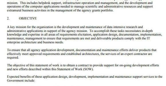 Contract Statement Of Work Template Sample Statement Of Work Template 13 Free Documents