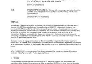 Contractor Contract Template Independent Contractor Agreement Template Word Pdf