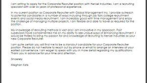 Corporate Recruiter Cover Letter Corporate Recruiter Cover Letter Sample Cover Letter