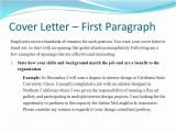 Cover Letter 1st Paragraph Career Project Part Iii Ppt Video Online Download