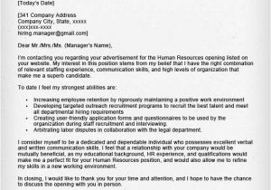 Cover Letter Addressed to Human Resources Human Resources Cover Letter Sample Resume Genius