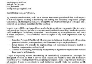 Cover Letter Addressed to Human Resources Human Resources Cover Letter Writing Sample Resume