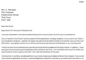 Cover Letter Examples for Receptionist Position with No Experience Cover Letter for A Receptionist Icover org Uk