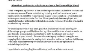 Cover Letter Examples for Substitute Teachers Substitute Teacher Cover Letter Sample Limeresumes