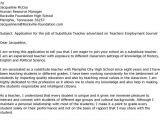 Cover Letter Examples for Substitute Teachers Substitute Teacher Resume Best Template Collection