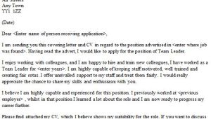 Cover Letter Examples for Team Leader Position Team Leader Cover Letter Sample Lettercv Com