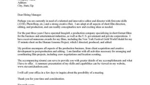 Cover Letter Film Industry Film Production Cover Letter Examples tomyumtumweb Com