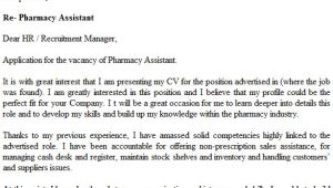 Cover Letter for A Pharmacy assistant Pharmacy assistant Cover Letter Example Icover org Uk
