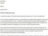Cover Letter for A Secretary Job Cover Letter for A Medical Secretary Icover org Uk