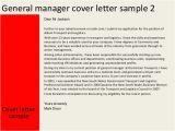 Cover Letter for A Senior Management Position General Manager Cover Letter