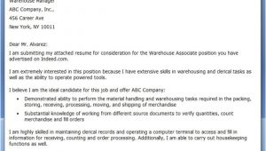 Cover Letter for A Warehouse Position Warehouse associate Cover Letter Resume Downloads