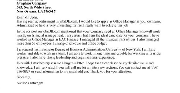 Cover Letter for Accounting Firm Accounting Office Manager Cover Letter Perfect Resume format