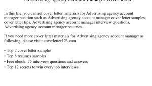 Cover Letter for Ad Agency Advertising Agency Account Manager Cover Letter