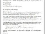 Cover Letter for Administration Officer Administrative Officer Cover Letter Sample Cover Letter