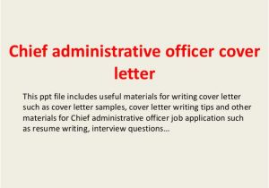Cover Letter for Administrative Officer Position Chief Administrative Officer Cover Letter