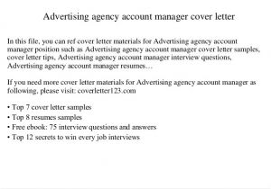 Cover Letter for Advertising Agency Advertising Agency Account Manager Cover Letter