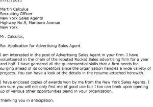 Cover Letter for Advertising Agency Cover Letter for Advertising Agency Sample